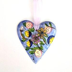 Ceramic heart embellished with vintage style jewel